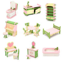 9 Set Wooden Dollhouse Miniature Furniture Puzzle Model Children Kids Toy Gift