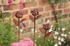 Metal Rose Bud Head Decorative Garden Rusted Stake Plant Support. 1.11 metres
