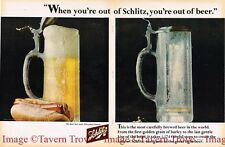 1960s Schlitz Beer Glass Beer Stein Hot Dog 14 inch tall Paper Ad