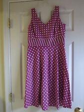 Purple polka dot sleeveless dress  Amanda Smith Petites size 8P cotton spandex