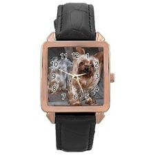 Yorkshire Terrier Puppy Dog Rose Gold Leather Watch
