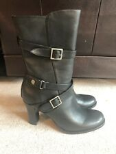 NEW Miss Bisou 9M Wynonna  Black Leather Boots W/ High Heel & Buckles Retail $70