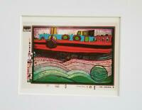 "Friedensreich Hundertwasser ""Regentag On Waves Of Love"" Matted Offset Litho 1986"