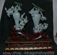 Une paire de vase en jadéite jade glace chine de 19,6 pouces fleur pêche oiseau