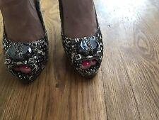 Oscar de la Renta Jeweled Snakeskin Slingbacks Shoes Pumps Size 37 UK 4 US 7