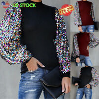 Womens Casual Tee Tops High Neck Ladies T-Shirt Blouse Sequins Lantern Sleeve US