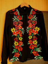 Gr. 36 Bluse S Damen  Romantische Hemd Mädchen  Kniterarm