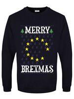 Merry Brexmas Blue Christmas Jumper Men's Navy Sweater