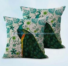 US SELLER, 2pcs peacock retro cushion cover outdoor throw pillow covers