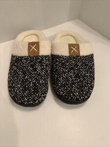 Women's Size 7-8 Black Heather Beige Memory Foam Lining Hard Sole Slippers NEW