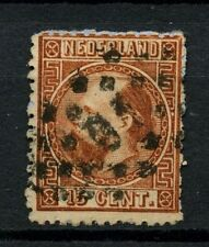Netherlands 1867-9 SG#19c 15c Chestnut P13-13.5 Used Cat £45 #A46966