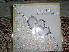 Glückwunschkarte/Umschlag Hochzeit Doppelherz GROSS Strass Handarbeit Vanille