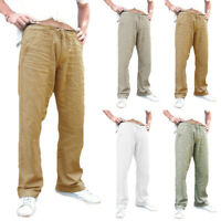 Fashion Men's Cotton Linen Casual Pants Drawstring Pockets Trousers Sweatpants
