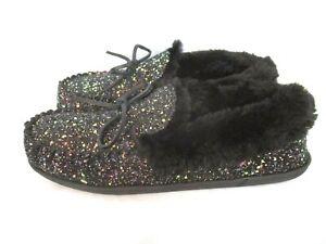 Clarks Moccasin Slippers Black Glitter Sz 11M Faux Fur Lined Slip On Women BR68