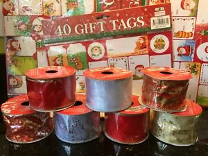 Christmas Ribbon 5cmX14m Red Gold Silver Glitter Organza Decoration 40 gift tags