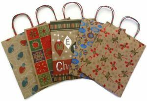 Christmas Large Kraft Bags with Handles- (5)