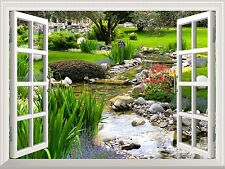 """Wall Mural - Clear Spring and Green Grass out of the Open Window - 36""""x48"""""""