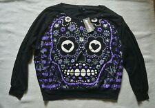 Sugar Skull Top Baggy S Emo Slouch Top UK 10 Banned