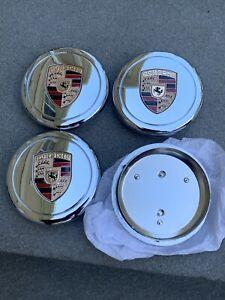 New Chrome 4Pcs Fuchs Wheel Center Caps Porsche Colored Crest 91136103228