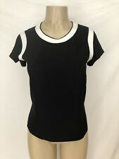 RAG AND BONE Black Short Sleeve Magda Top with White Edging Accents XXS