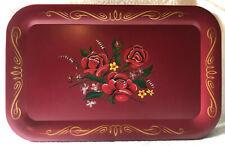 Set of 4 Vintage Red Floral Metal Trays, Pre-Owned