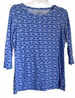 Vineyard Vines Womens Top Modal Blend White Blue Nautical Knot 3/4 Sleeve Small