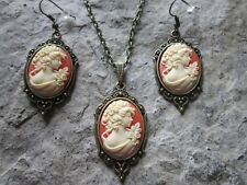VICTORIAN WOMAN PORTRAIT CAMEO BRONZE NECKLACE & EARRINGS - WEDDING - MOTHERS