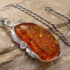 "Huge Baltic Faux Orange Amber White Gold Plated 3"" Pendant + 21"" Chain Necklace"
