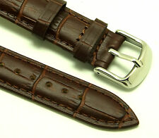 18mm Brown Crocodile Grain Leather Replacement Watch Strap - Seiko 18mm Lug