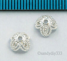 2x BRIGHT STERLING SILVER CZ CRYSTAL FILIGREE FLOWER BEAD CAP SPACER 6.7mm #2632