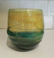 Don Gonzalez NJ Studio Art Glass Vase Yellow  Green Blue