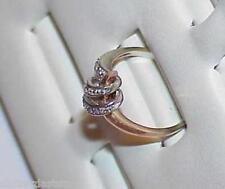 Gold Ring Sz7 Eames Modern Spaceage 14K .15ct 12 Diamond Rose & White