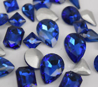 Mixed Shapes Sizes Crystal Royal Blue Rhinestone Settings Sew On Crystals Glass