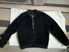 Black Suede Leather Mens Jacket XL