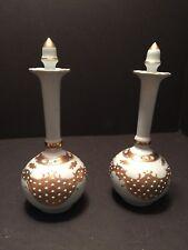 Pair Vintage Vanity Cologne Bottles Porcelian gold/floral