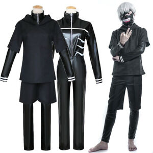 Tokyo Ghoul Kaneki Ken Black Hoodie Sweater Leather Cosplay Costume