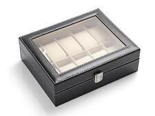 Glass Top 10 Watch Black Leather Box Case Display Organizer Storage Tray for Men