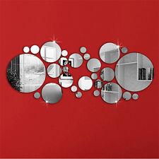 30PC Circles Mirror Silver Removable Decal Art Mural Wall Sticker Home Decor DIY