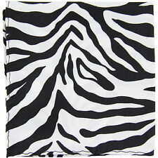 New polyester zebra animal print pocket square hankie handkerchief white