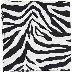 New polyester zebra animal print pocket square hankie handkerchief white