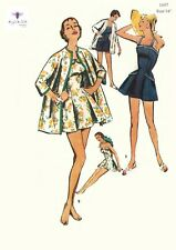 Vintage 1950s Sewing Pattern, Rare Women's Skirted Bathing Suit, jacket, Bust 34