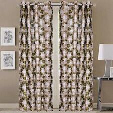 New 2 Pieces Fancy Design Green Floral Leaf Polyester Eyelet Window Curtain 5 ft