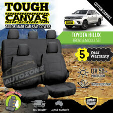 Canvas Seat Covers for Toyota Hilux Dual Cab SR5 SR 2ROWs 07/2015-19 BLACK