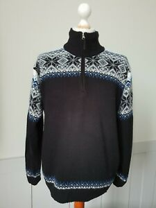 Lined Fair isle Pattern 1/4 Zip Jumper In Wool/Acrylic Cosy  -L/XL- TO26