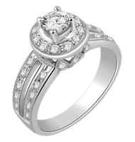 Split Shank Solitaire Engagement Ring SI1 G 0.80Ct Natural Diamond White Gold