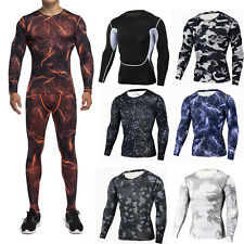 Mens Compression Set Sportswear Apparel Skin Tights Base Layer T- Shirts Pants