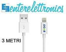 IPHONE CAVO 3 METRI CARICABATTERIE ALIMENTAZIONE USB 2.0 iOS