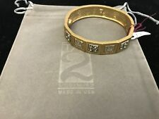 BRAND NEW TAT2 BRACELET B253 GOLD MALLORCA PANELED COIN HAMMERED BANGLE