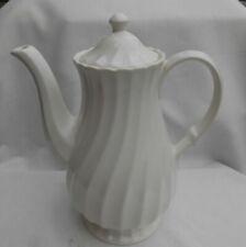 SHEFFIELD BONE WHITE SWIRL COFFEE POT SERVER USA IRONSTONE VINTAGE RARE