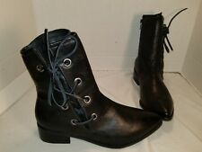 NEW FREE PEOPLE MATISSE PROPER BLACK LEATHER LACE UP BOOTIE ANKLE BOOTS US 8